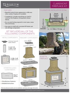 Rosetta Claremont Fireplace Kit Info Sheet
