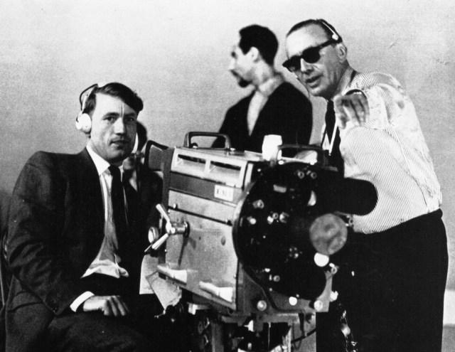 Cameraman, Burt Wilkins (left) with floor manager, Noël Simmons.