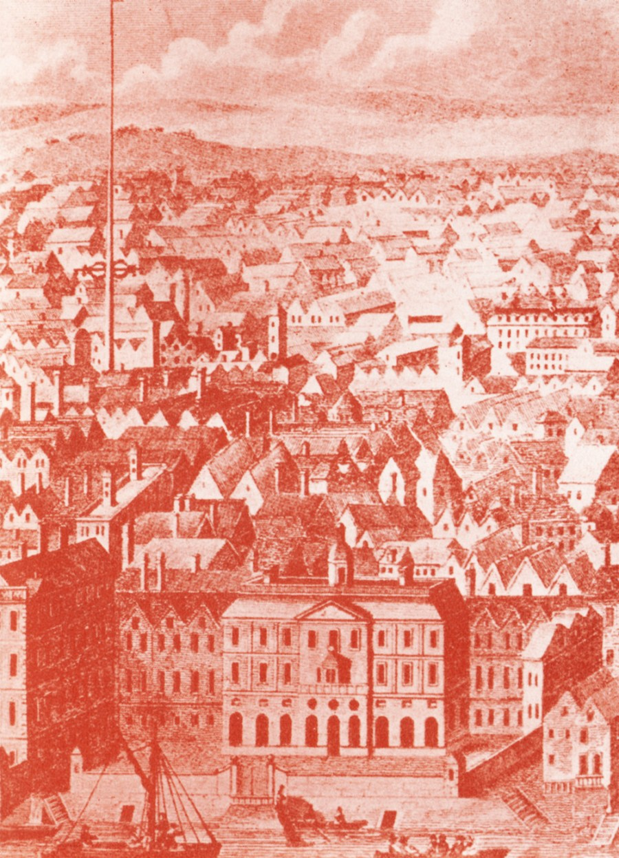 This is what the buildings around The Strand looked like in 1700. Note the Maypole (centre left) and the green hills beyond.