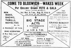 B+W typed Bloxwich Wakes advert, early 1900s