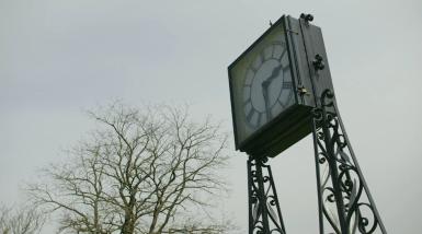Close up shot of the Pat Collins Memorial clock 2016