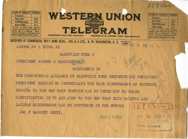 Telegram from John Beggett, Secretary of the Ministerial Alliance to President Warren G. Harding, 01/08/1923