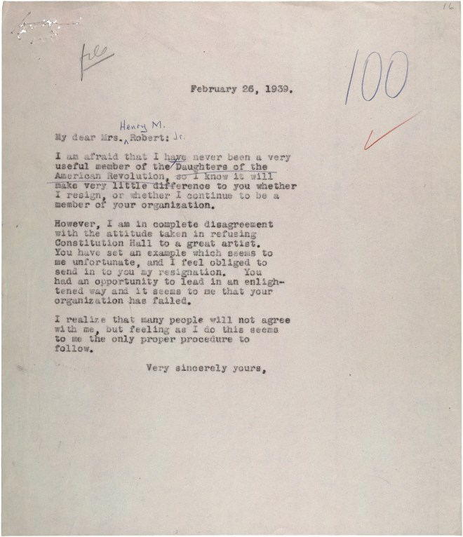 Letter from Eleanor Roosevelt to Mrs. Henry Roberts (1)