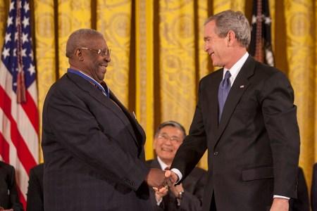 B. B. King and President George W. Bush (NAID 7431369)