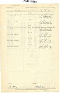 Samuel L. Gravely, Jr.'s signature on the deck log (NAID 594258)
