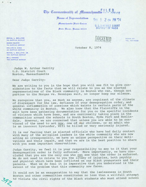 Letter from the Massachusetts Black Caucus to Judge W. Arthur Garrity, Jr. (NAID 4713898)