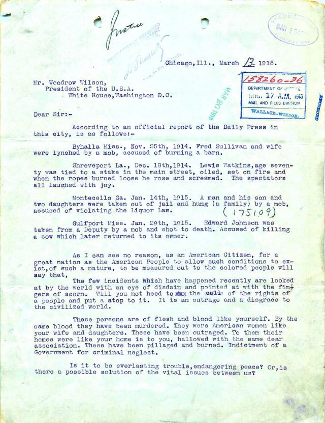 J.B. Winston to President Woodrow Wilson, March 13, 1915 (NAID 583895)