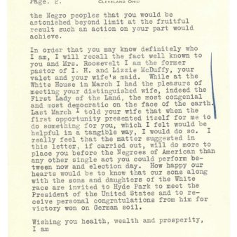 Letter from Pastor Ernest Hall to President Roosevelt, 8/5/1936