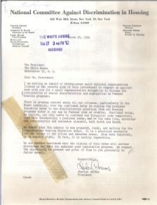 Letters urging the President to take action on discrimination in schools, public places, and housing. [JFKWHCSF-0371-007-p0003]