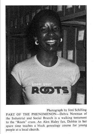 Debra+Newman+Wears+Roots+T-Shirt,+NARS+Newsletter,+August+1977.jpg