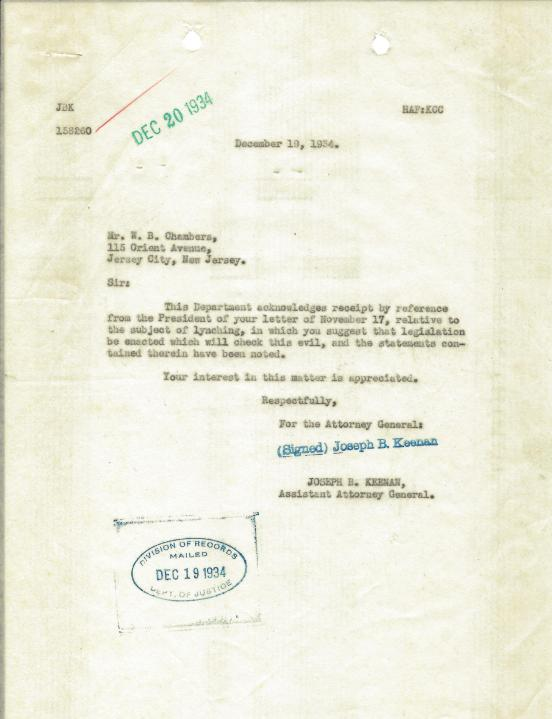 Letter from Assistant Attorney General Joseph B. Keenan to W.B. Chambers