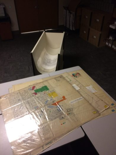 Originally folded and stored by the court in standard one cubic foot records storage boxes, the dozens of large oversized maps are now being better preserved and stored.
