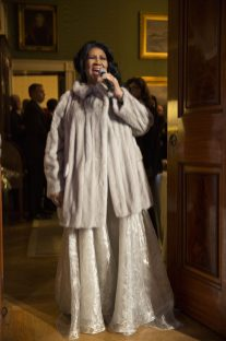 """P041415PS-0988: Aretha Franklin performs during """"The Gospel Tradition: In Performance at the White House"""" in the East Room, April 14, 2015. Courtesy Barack Obama Presidential Library. Courtesy Barack Obama Presidential Library."""