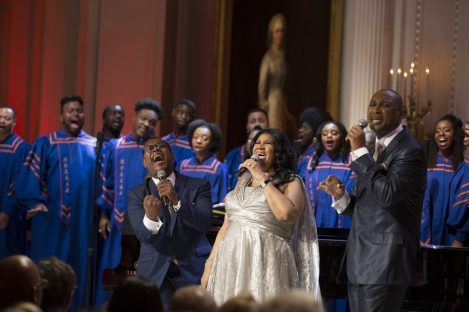 """P041415PS-1070: Aretha Franklin performs during """"The Gospel Tradition: In Performance at the White House"""" in the East Room, April 14, 2015. Courtesy Barack Obama Presidential Library. Courtesy Barack Obama Presidential Library."""