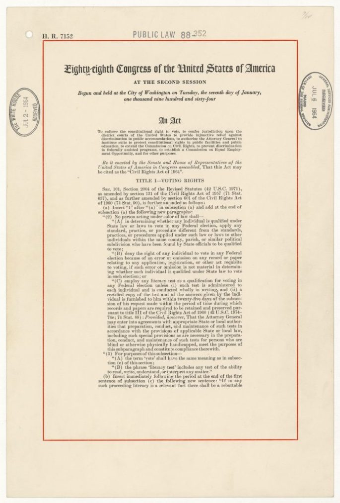 first page of the Civil Rights Act of 1964