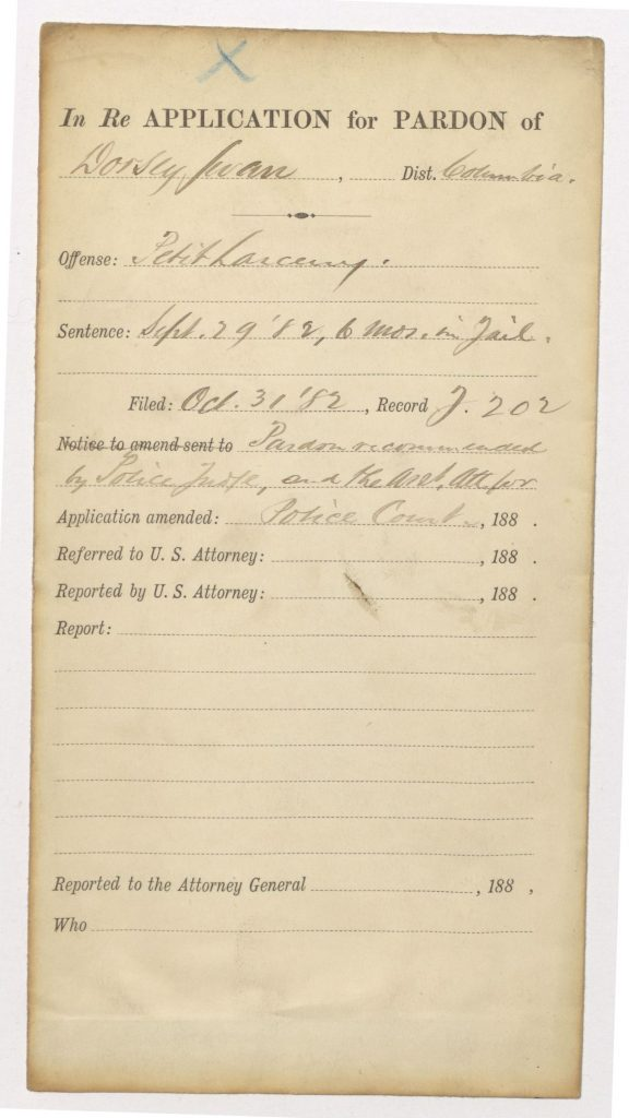 cover folder for Swann pardon file, showing Petit Larceny as the offense