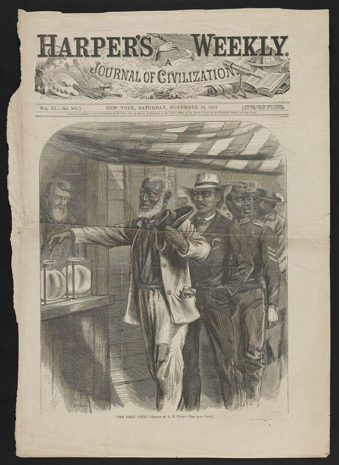 harpers weekly cover depicting black men voting