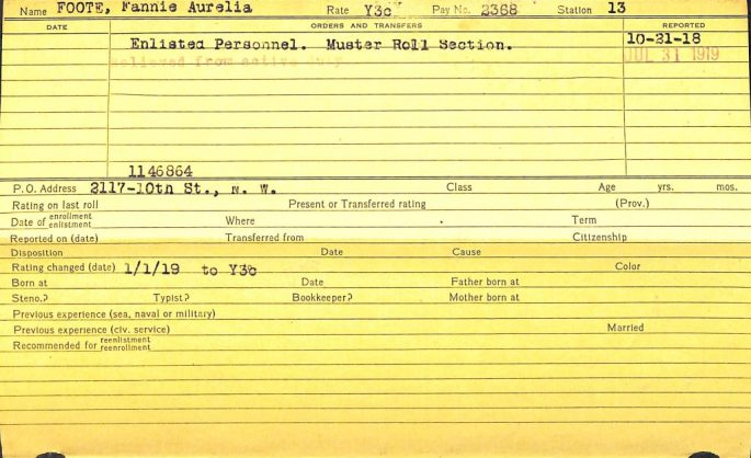 yellow card showing status of Fannie Foote as enlisted personnel, muster roll section