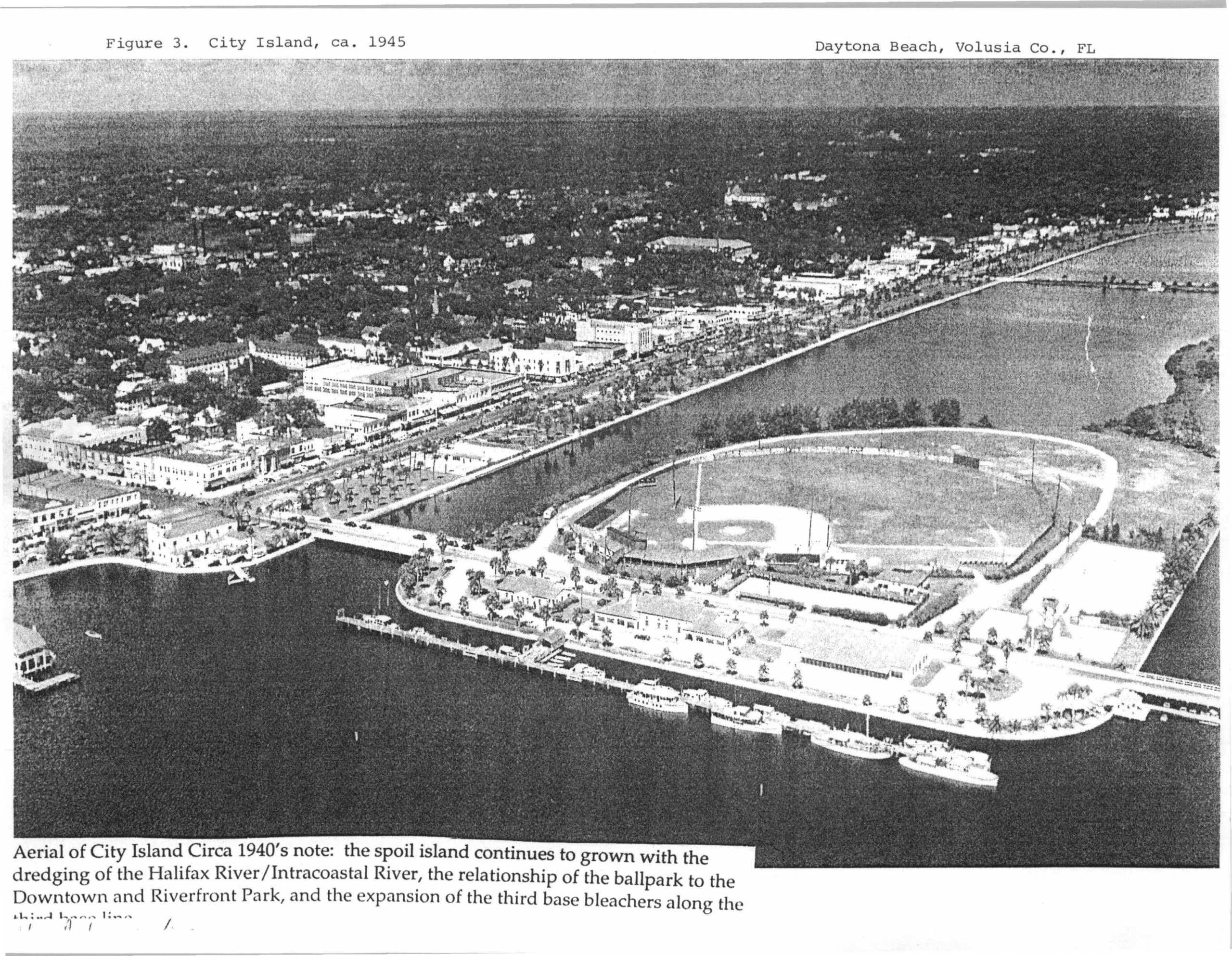 view of ballpark ca. 1940s, with the island exapanding