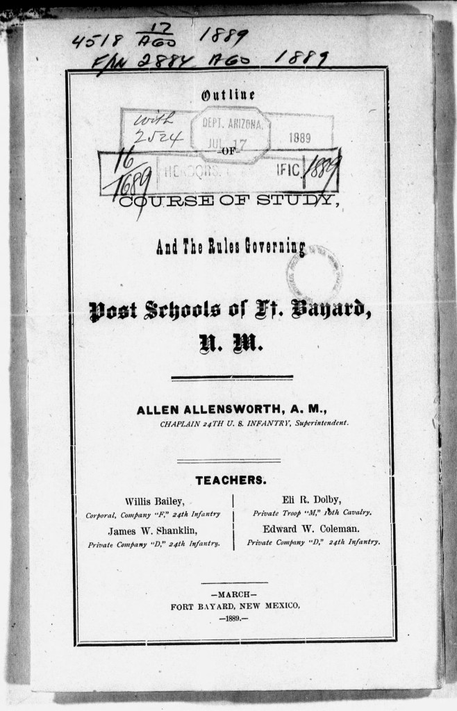 """cover, """"Course of Study and the Rules Governing Post Schools of Ft. Bayard, NM, Allen Allensworth, Chaplain 24th US Infantry"""""""