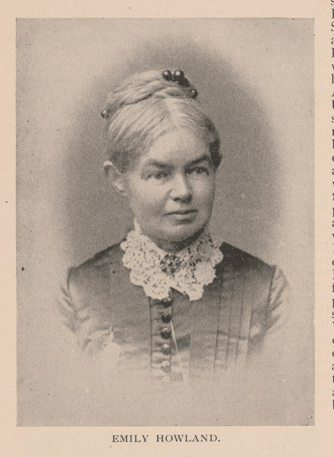 Photograph shows abolitionist and educator Emily Howland (1827-1929) in a head-and-shoulders portrait, facing slightly right