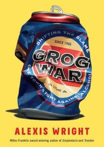Yellow book cover showing a crushed beer can with the label Grog War