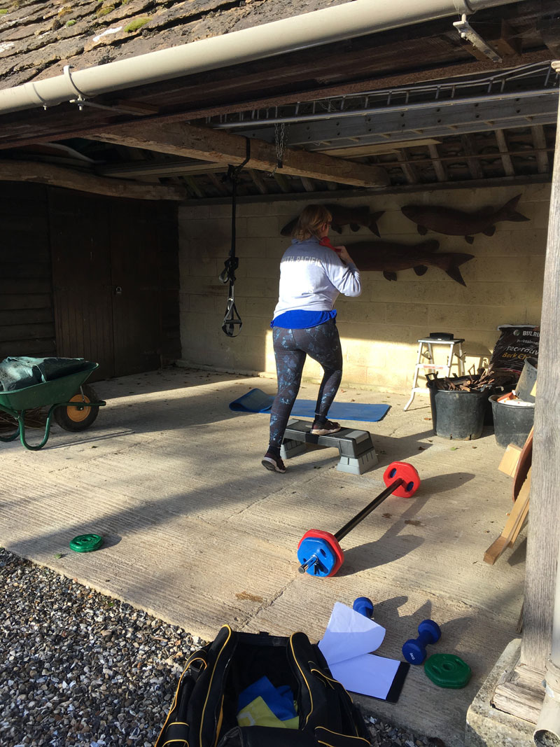 Home gym work out in garage