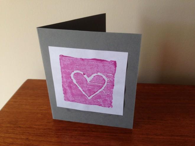 homemade heart card, stamp card, homemade fathers day card, homemade valentines card, homemade mothers day card