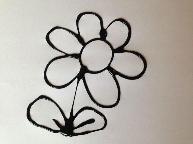 black glue art, kids craft black glue pictures