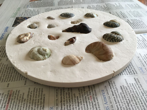 plaster stepping stone, garden stepping stone, plaster of paris, plaster craft projects kids, garden craft projects kids, things to make from plaster of paris, things to make with shells