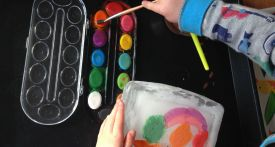 ice painting, summer craft, painting on ice blocks, summer kids craft, craft ideas with ice