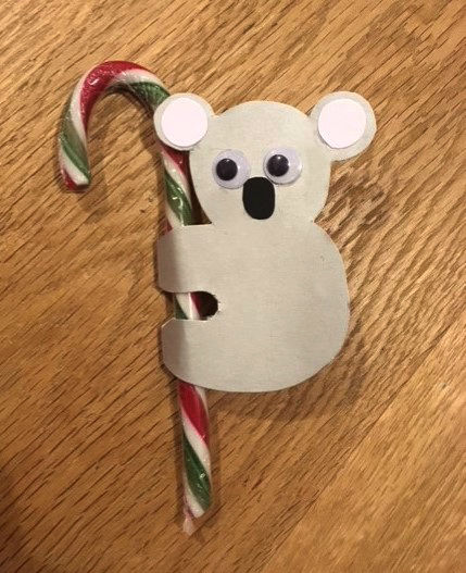 koala candy cane, koala craft, koala christmas craft, aussie craft, aussie animals craft, australiana craft, candy cane craft, koala decoration