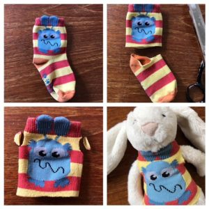 sock tshirt, teddy tshirt, teddy sock tshirt, diy toy clothes, no sew teddy clothes, soft toy clothes, odd sock craft