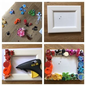 rainbow junk, craft idea with party bag junk, recycled craft, rainbow frame, diy frame, recycled craft projects for kids, sticking plastic toys onto frame with hot melt glue gun