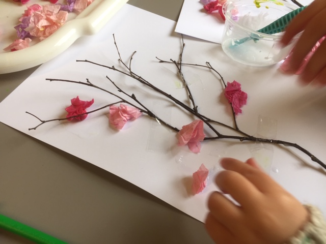 toddler spring craft, preschool cherry blossom art