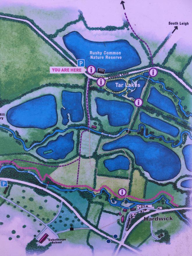 tar lakes map, tar lakes parking, rushy common nature reserve parking