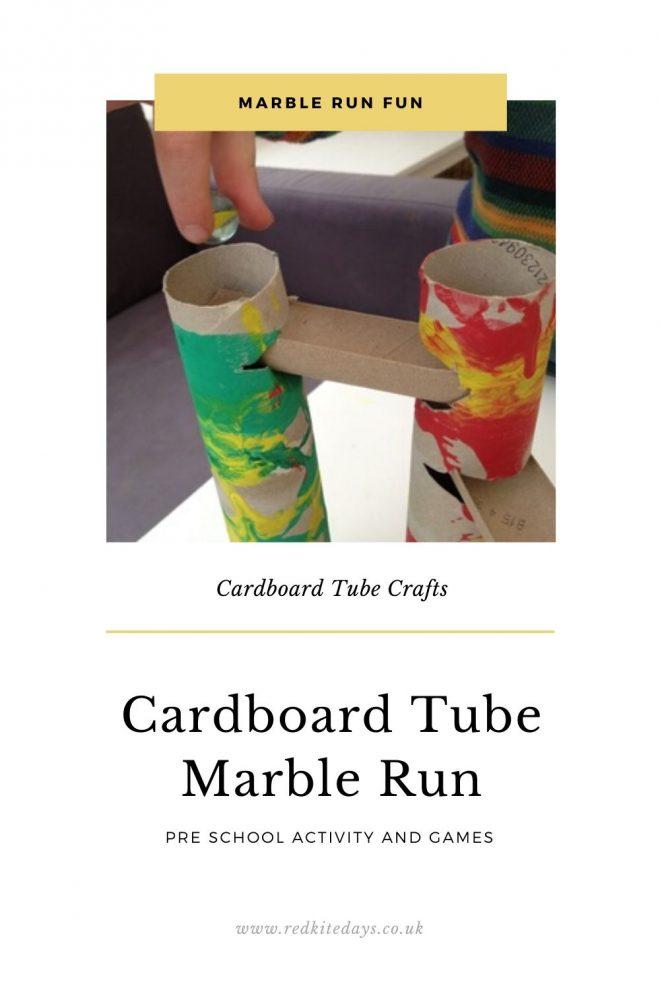 make your own marble run, cardboard tube marble run