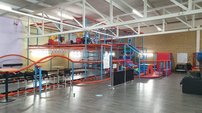 under 4s soft play frame at djs in hemel with ride on cars and go karts