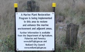 Sign about marine plant restoration done 5 August 2014