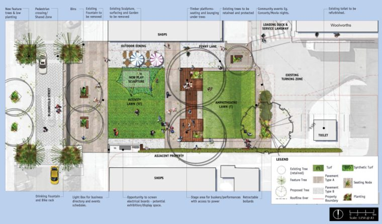 Council's plans for Bloomfield Street Park (click to enlarge)
