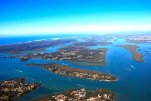 Aerial view of southern Moreton Bay islands