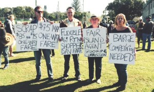 Stradbroke Island residents protesting against changes to ferry fares