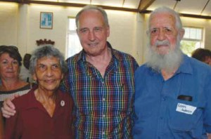 Auntie Rosie Borey, Paul Keating and Uncle Bob Anderson at QYAC's inaugural annual general meeting, Dunwich, 2013