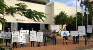 Rushwood Estate residents protest outside Redland City Council's offices