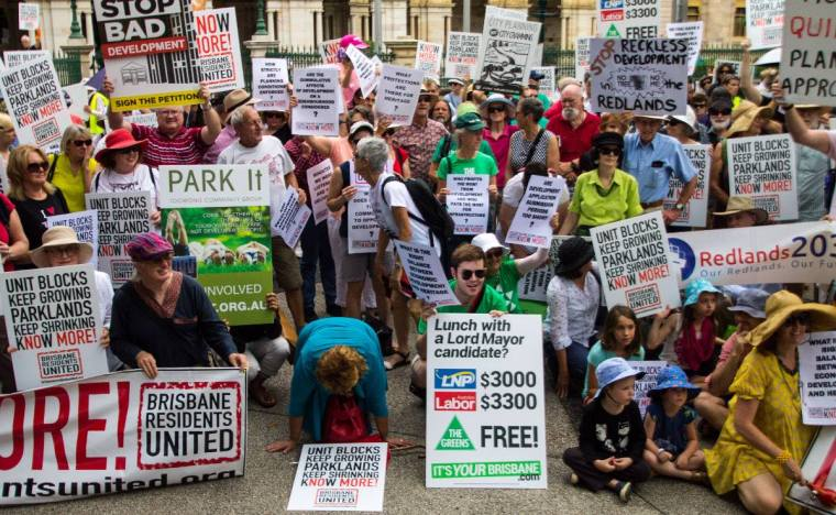 Local communities in the Brisbane area protesting against inappropriate development