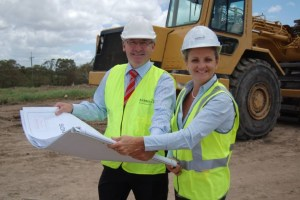 Mayor Karen Williams and Ausbuild's Ron Lonie in February 2013