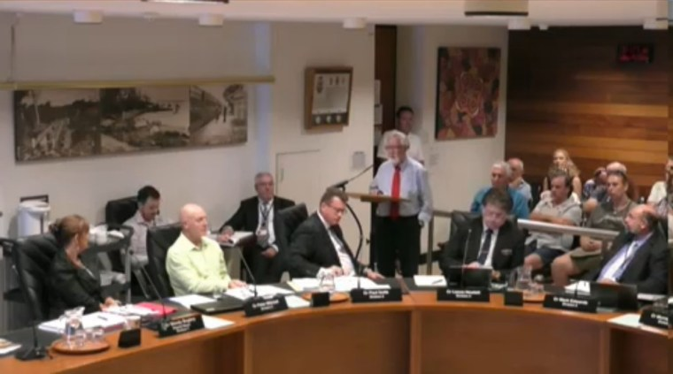 Alby Sutton speaking at the Redland City Council meeting on 25 January