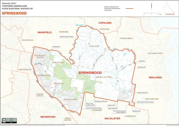 Proposed new boundaries for the Springwood electorate attracted objections from people in Mt Cotton, Sheldon and Rochedale