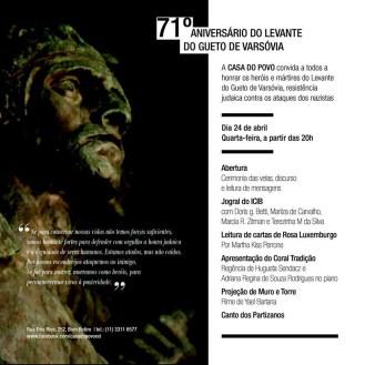 Afiche: 71 Aniversario del Levantamiento del Gueto de Varsovia