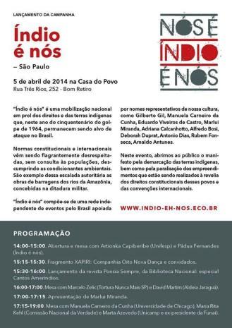 Lanzamiento de campaña Índio é nós - Abril de 2014